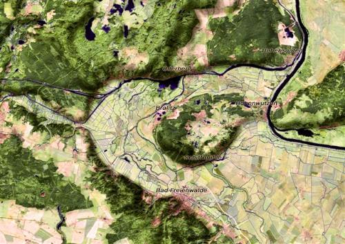 Niederoderbruch mit der Neuenhagener Oderinsel. Karte erstellt von J. Kiesel und H. Domnick